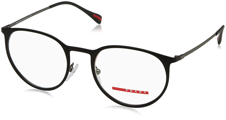 07b1e347a18 Prada PS50HV Eyeglass Frames DG01O1-50 - Topaz Black Rubber Gunmetal at  Amazon Men s Clothing store