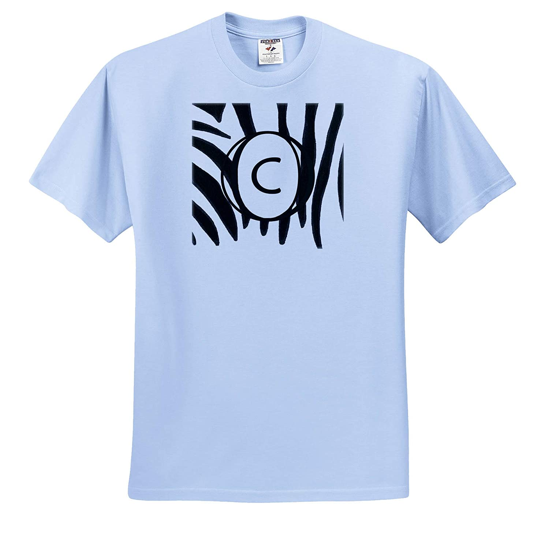 3dRose CherylsArt Monograms Adult T-Shirt XL ts/_312249 Black and White Zebra Print Stripes Monogram Letter C