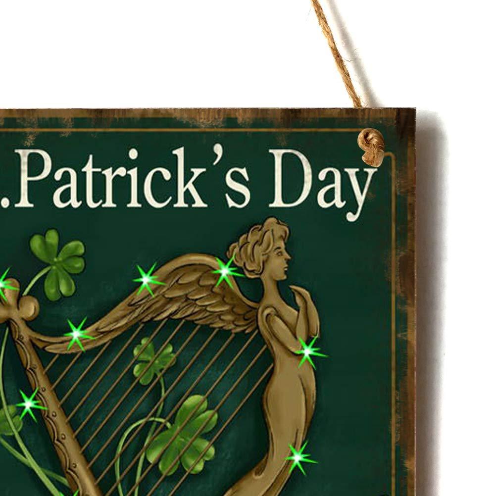 Amosfun Plaque Murale en Bois R/étro avec Tr/èfle Shamrock Harpe Ange D/écoration Saint Patrick Irlandais St Patricks Day D/écorative Vintage avec Ficelle 40cm