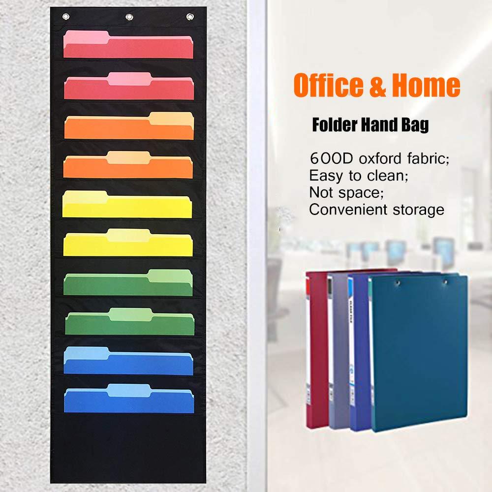 Organizador de archivos de pared con 10 bolsillos y 3 colgadores para organización del hogar, escuela, oficina, archivador de billetes, color 10 Pockets ...