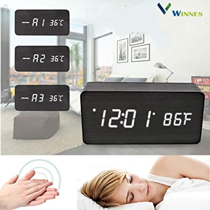 Digital Alarm Clock,Winnes Wooden Electronic Clock LED Displays Time Date Week and Temperature,