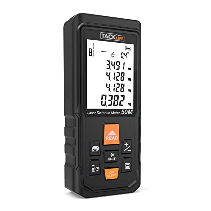 Tacklife S3 - Medidor láser, 50 m, mediciones de distancias grandes con ventana de
