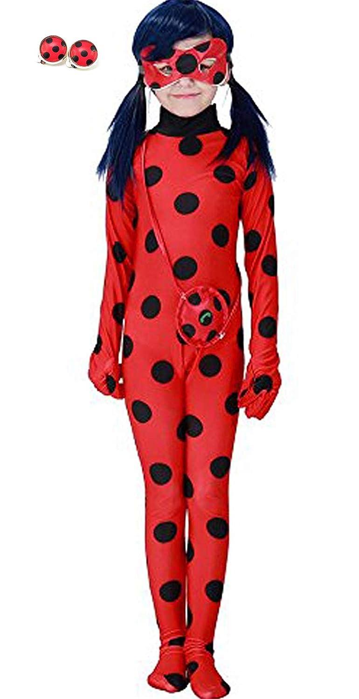 Halloween 3er Kostuem.Yigoo Ladybug Madchen Marienkafer Kostum Erwachsene Halloween Karneval Marinette Overall Party Cosplay 3er Set Tasche S Augenmaske Jumpsuit Kostume Fur Kinder Spielzeug Dailynewss In