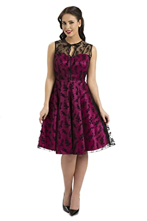 Vintage Style Lace Rockabilly Prom Dress, Pink, Small
