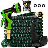 Garden Hose 55 Feet, Expandable, Lightweight, High Density 3750D Outer Fabric, Durable Double Latex Core, Bundle with Spray Nozzle and Accessories (5 Items) Larger Image