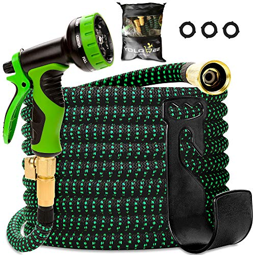 - Garden Hose 55 Feet, Expandable, Lightweight, High Density 3750D Outer Fabric, Durable Double Latex Core, Bundle with Spray Nozzle and Accessories (5 Items)
