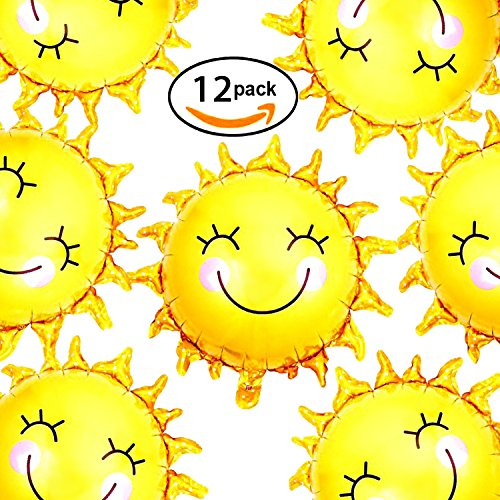28 inch Summer Sun Smile Foil Mylar Balloons Helium Balloon You Are My Sunshine Baby Shower Birthday Party Wedding Decorations, 12pc Sun Foil