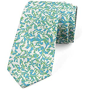 Corbata, ramas frondosas de verano, azul cielo profundo verde lima ...