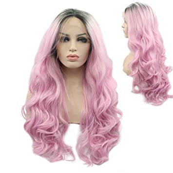 Lower Price with Vnice 613 Platinum Blonde Ombre Pink Synthetic Lace Front Wig Cosplay Natural Long Straight High Temperature Fiber Hair Extensions & Wigs