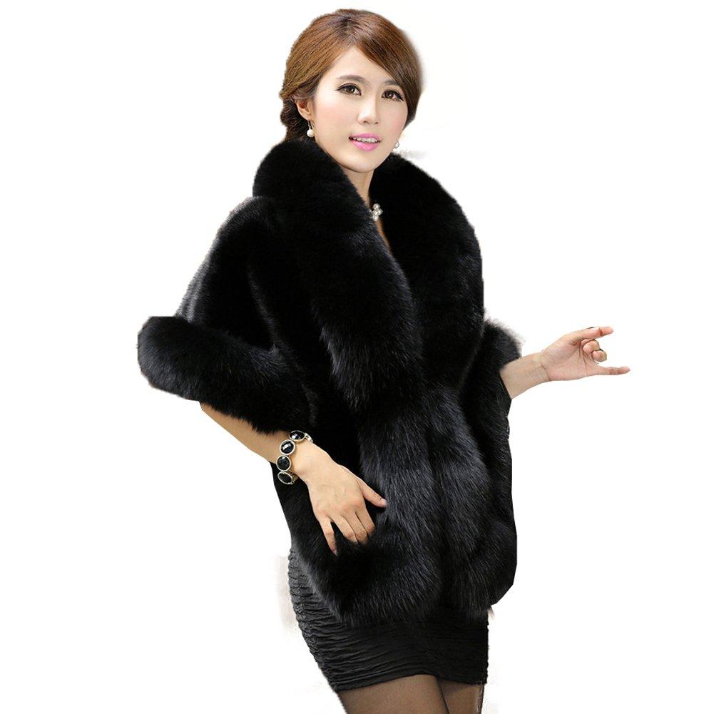 Caracilia Women's Faux Fur Coat Wedding Cape Shawl for Evening Party Black by Caracilia