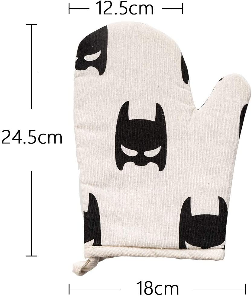 Anti-scalding Gloves Thickening Plus Cotton Insulation Steam High Temperature Resistant Non-slip Household Kitchen Essential Anti-scalding Gloves Home & Kitchen ( Color : Batman , Size : L-One piece )