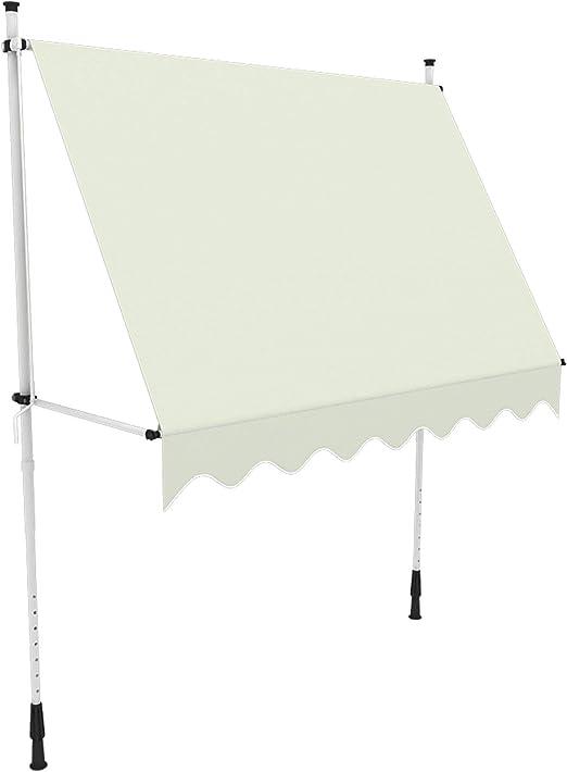 paramondo Toldo Enrollable, Toldo para balcón Jam, 2 x 1,5 m, Estructura Color Blanco, Tela Color Crema (Unicolor)