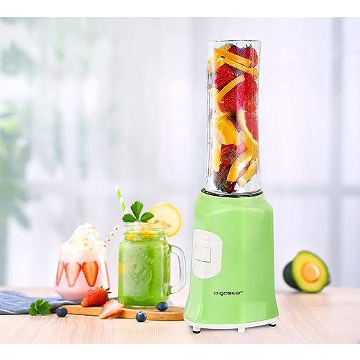 Aigostar Summer 30IWW - Batidora de vaso portátil para smoothies, batidos y picar frutas, 350W. Incluye 2 vasos de Tritan de 600 ml y 2 tapas. Color ...