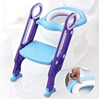 Baby Toddler Kids Potty Toilet Training Seat with Step Stool - Soft Cushion - Adjustable Footrest - Sturdy Design…