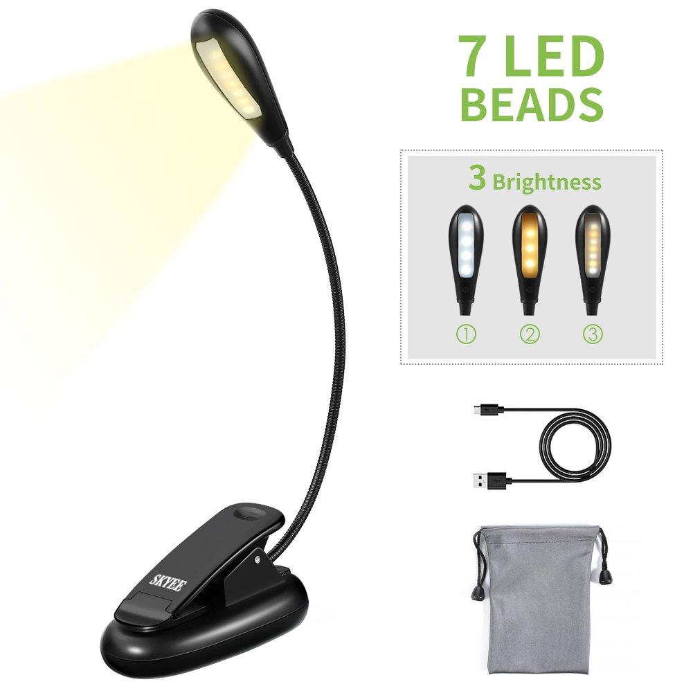 skyee lampe de lecture pour livre pince led liseuse rechargeable et flexible av ebay. Black Bedroom Furniture Sets. Home Design Ideas