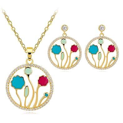 Amazon Com Yyogg Fashion Cloisonne Enamel Jewelry Set With Genuine