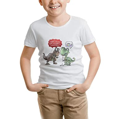 Children T-Rex Dinosaur Eat Unicorn no Kid Cotton T Shirt tee 2-10 Years Old