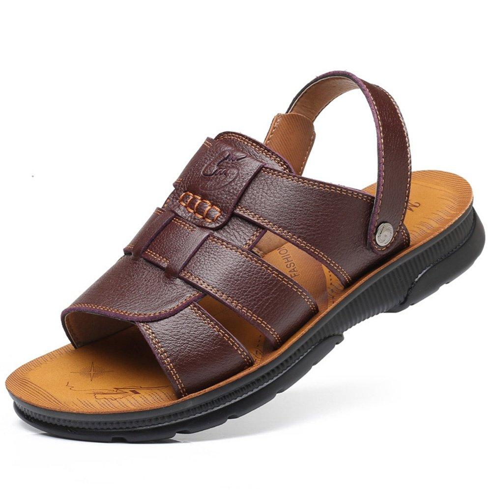SSYY-Hombres Sandalias Cuero Punta Abierta Transpirable Zapatos de Playa Antideslizante Fondo Suave Aire Libre Ejercicio Sandalias, deepbrown, UK 6/EU 38.5 UK 6 / EU 38.5|deepbrown