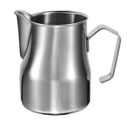 Jarra para espuma de leche (acero inoxidable, Café Leche Jarra De Espuma taza, Acero inoxidable 304, Plateado, B:500ml