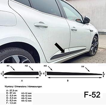 Spangenberg Listones de protección Lateral, Color Negro, para Renault Megane IV Hatchback de 5 Puertas a Partir del año de construcción 11.2015 F52 ...