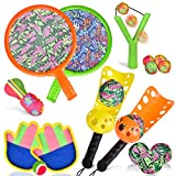 16 PCs Sports Outdoor Games Set with Scoop Ball Toss, Toss and Catch Games, Tennis Racket Sports Toy, Slingshot Rocket Copters Water Toys for Kids