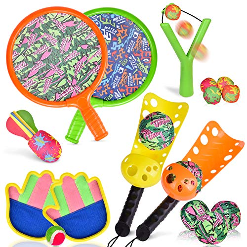 (16 PCs Sports Outdoor Games Set with Scoop Ball Toss, Toss and Catch Games, Tennis Racket Sports Toy, Slingshot Rocket Copters Water Toys for Kids)