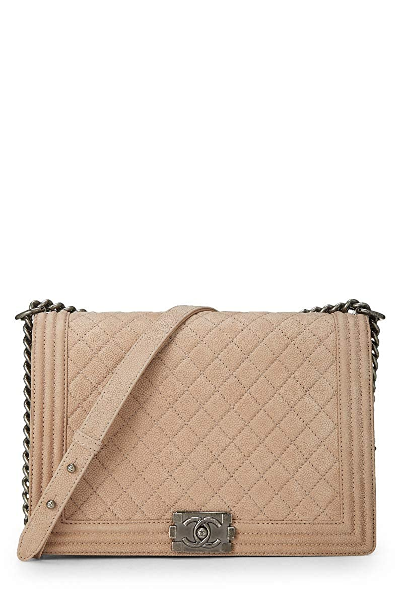 227a71bb00ce CHANEL Beige Quilted Soft Caviar Boy Large (Pre-Owned): Handbags: Amazon.com