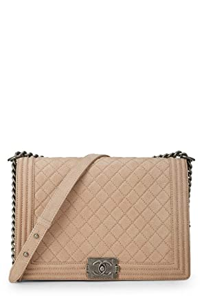 24efdc37379eaa Image Unavailable. Image not available for. Color: CHANEL Beige Quilted  Soft Caviar ...