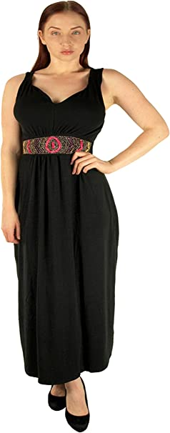 Lucy Diamonds Women\'s Plus Size Maxi Dress with Colorful Decorative Beaded  Half Belt 4X 5X 6X