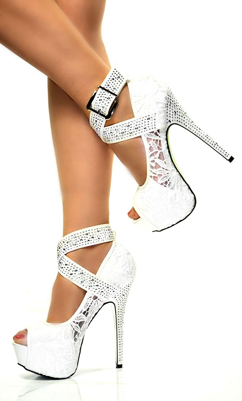 Chic Feet Ladies Womens Sexy White Lace Hidden Platform High Heels ...