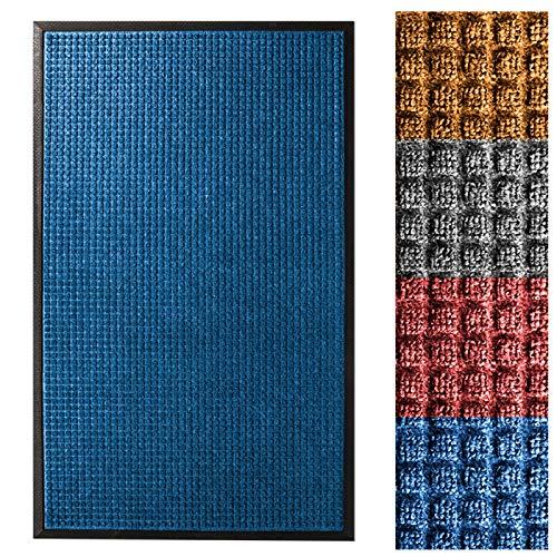 (casa pura Entrance Mat | Embossed Front Door Mat | Indoor and Outdoor Entry Rug | Blue | 48