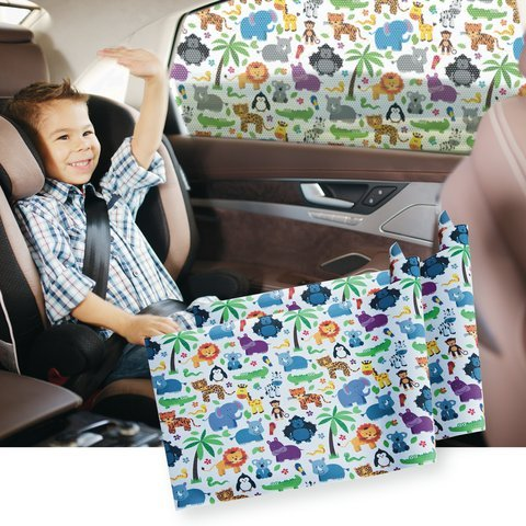 Car Window SunShade (2 pack) Shield Your Baby from Sun, Glare, UV & Heat - Kids Fun Shade is Driver & Tint Safe. Vinyl Mesh Superior to Cling, Suction, Sox ()