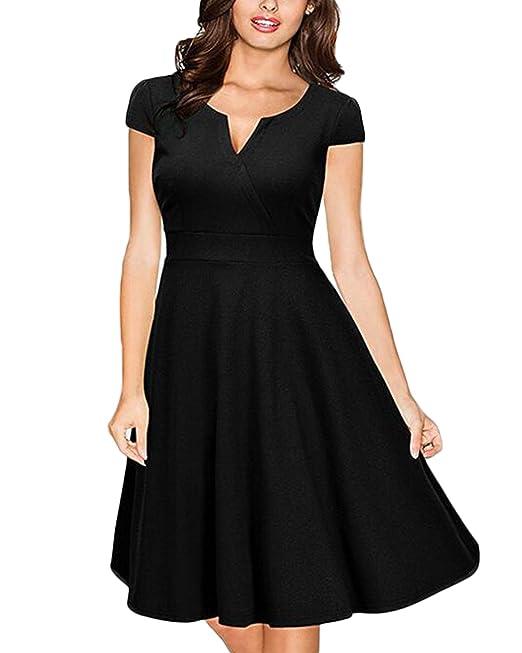 Auxo Midi Faldas Retro para Mujer Trajes de Noche Fiesta Vestidos Cortos V Cuello Elegante Negro