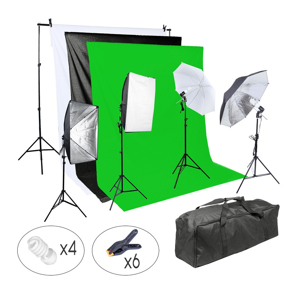 Lightdow Photographic 800W Softbox/Backdrop/Light Stand/Softlight Umbrella/Reflector Photo Video Studio Lighting Complete Set (Model Number: LD-TZ003) by Lightdow