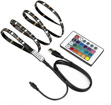 ZKWW - Tiras LED de 5 V para televisor con Mando a Distancia de 24 Teclas para HDTV, TV, TV, PC, Espejo, etc, 2m60LEDs: Amazon.es: Electrónica