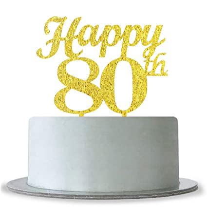 Image Unavailable Not Available For Color Gold Happy 80th Birthday Cake Topper