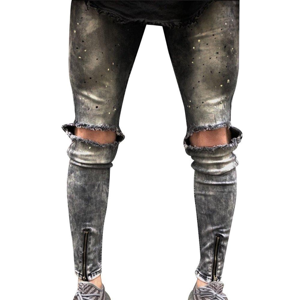 iLUGU Women Slim Biker Zipper Skinny Frayed Pants Distressed Rip Denim Jeans Trousers shorts by iLUGU