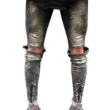 Longra Pantalones Vaqueros deshilachados con Cremallera y ...
