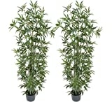 TWO Pre-Potted 6' Artificial Bamboo Trees with REAL BAMBOO TRUNKS