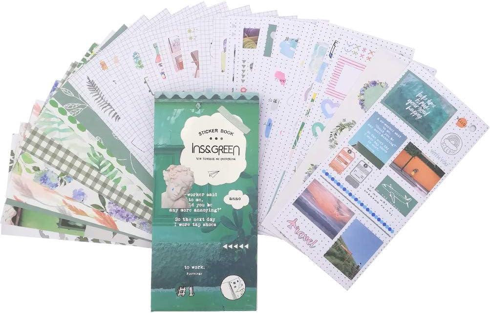 Kawaii Sticker Set (30 Sheets) Fresh Green Plant Floral Grid Frame Drink Girl Adhesive Stickers for Scrapbooking Album Planner Journal Agenda Art Craft DIY Stationery Gift Packing Decoration