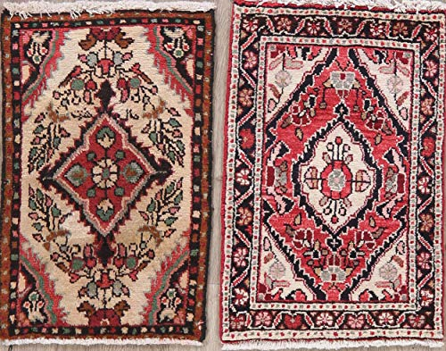 (Set of 2 Hand-Knotted Floral Red Ivory Hamedan Persian Oriental Rugs 2' 4