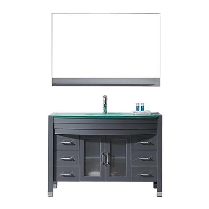 Ava 48 Single Bathroom Vanity In Grey With Aqua Tempered Glass Top