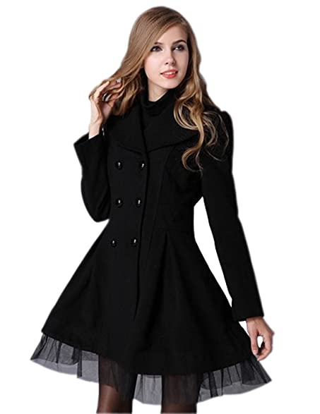 Woman Slim Fit Double Breasted Lapel Trench Wool Coat Jacket at ...