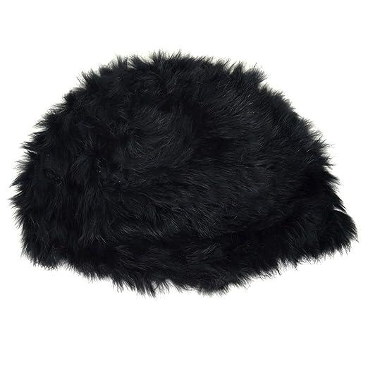 5c195e160bd04b Aisa Women Faux Fur Rabbit Hair Beanie Hat Winter Vintage Turban Cap Black