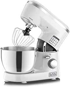 Black+Decker 1000W 6 Speed Stand Mixer with Stainless Steel Bowl, White/Silver - SM1000-B5, 2 Years Warranty
