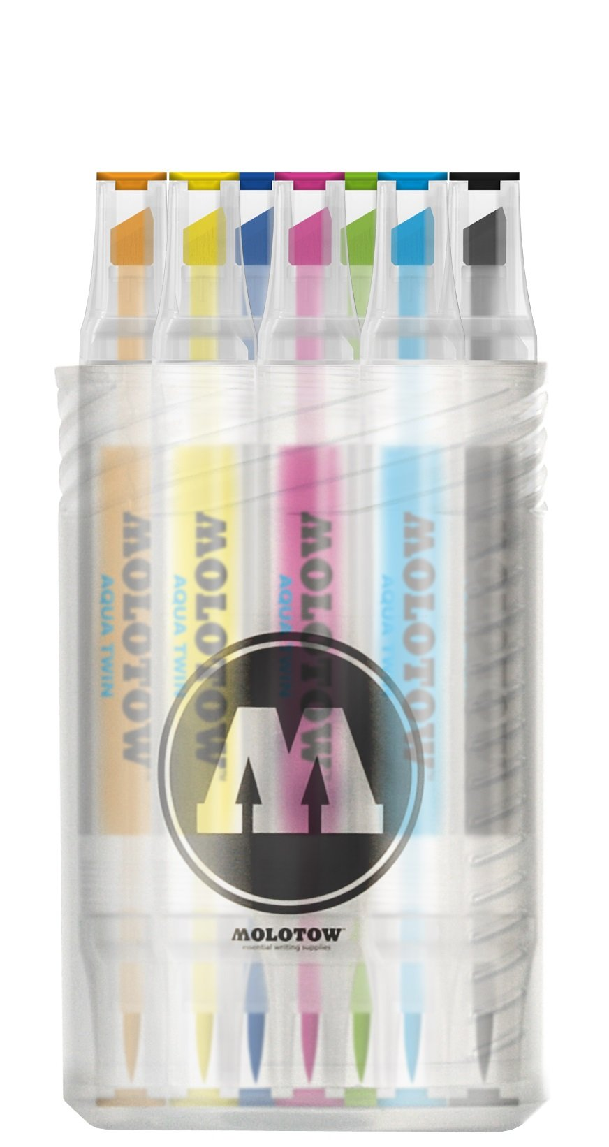 Molotow Aqua Twin Marker Complete Color Set, Brush and Chisel Nib, Assorted Colors, 12 Marker Set, 1 Set Each (729.311)