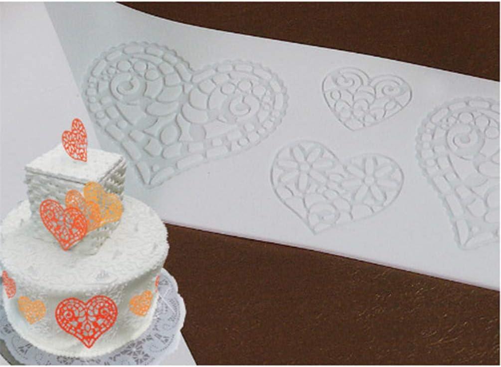 KYMLL Blanc Forme de Coeur Moule en Silicone Fondant P/âte /À Sucre Dentelle Tapis De G/âteau De D/écoration Outils Ustensiles De Cuisine DIY Outils de Cuisson Accessoires