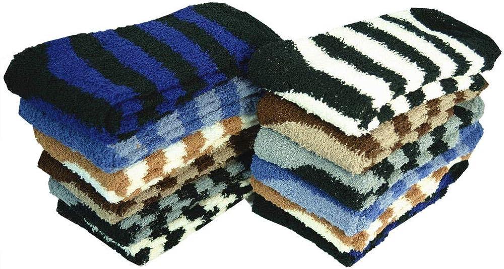 For Womens 3-10 Pairs Soft Cozy Fuzzy Socks Home Warm Striped Slipper Size 9-11