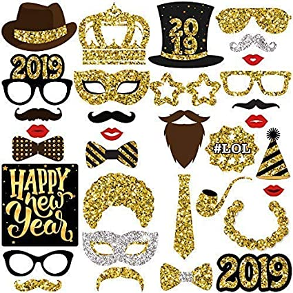 Amazoncom Katchon New Years Photo Booth Props Pack Of 33 Real