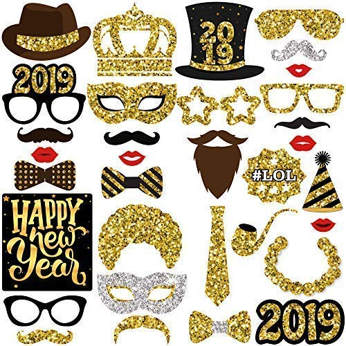 KatchOn New Years Photo Booth Props- Pack of 33, Real Glitter | 2019 New Years Eve Photo Props | Great for New Years Eve Party Supplies 2019 | Happy New Year Party Decorations 2019, DIY Required